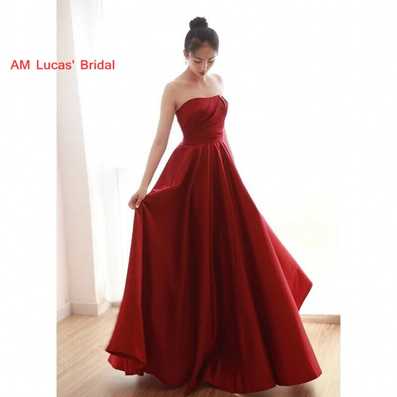 Simple Long   Evening     Dress   2018 Women Formal Gown For Prom Wedding Party   Dresses   Robe De Soiree Floor Length