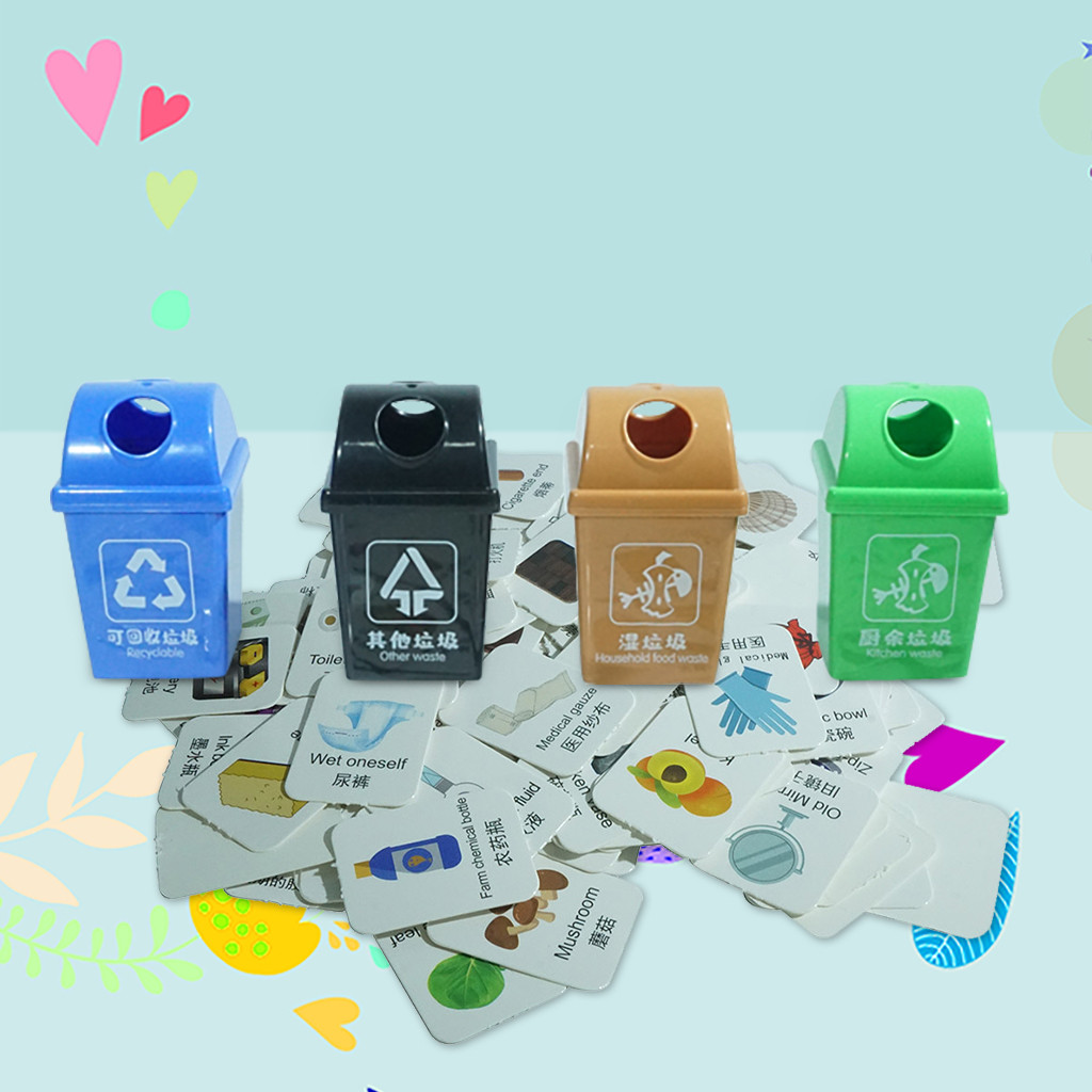Mini Kids Trash Can Garbage Classification With 120Pcs Cards Interactive Toy