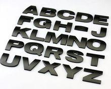 10 pçs/lote 3d carro de metal adesivos letras inglês etiqueta do carro a z e 0 a 9 números preto para opção hight qualidade distintivo