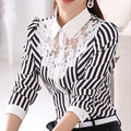 Women's Blouse 2017 Spring And Autumn New Female Long-Sleeved Shirt Slim Big Yards Hollow Lace Blouses Career Striped Shirt