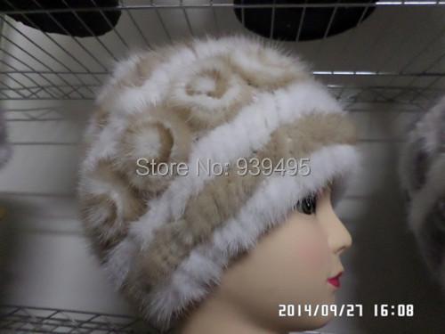 Frete grátis senhora de pele de vison chapéu da forma
