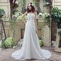 Barato 100% Real Pic Em Estoque A linha Querida Vestido de Noiva Chiffon Longo Vestidos de Noiva Tribunal Train