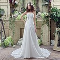 Cheap 100% Real Pic In Stock A line Sweetheart Wedding Dress Chiffon Long Bridal Gowns Court Train