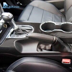 Image 1 - Airspeed Carbon Fiber Car Gearshift Panel dekoracyjne pokrycie Ford Mustang 2015 2017 konsola środkowa akcesoria samochodowe stylizacja samochodu