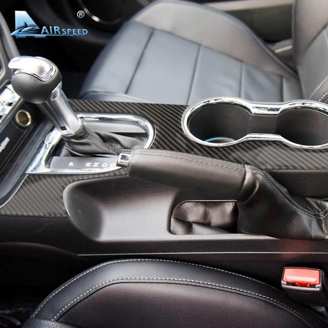 Airspeed Carbon Fiber Car Gearshift Panel dekoracyjne pokrycie Ford Mustang 2015 2017 konsola środkowa akcesoria samochodowe stylizacja samochodu