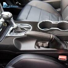 Airspeed карбоновое волокно панель переключения скоростей панель крышка украшения для Ford Mustang 2015-2017 центральная консоль автомобиля аксессуары автомобиля-Стайлинг