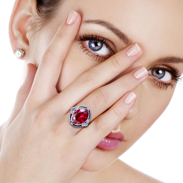 Genuine Unique Austrian 925 Sterling Silver Ring with Ruby Stones for Men Vintage Crystal Fashion Luxury Women Party Jewelry