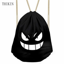 THIKIN Hot Anime Pokemon Gengar Gym Drawstring Bag Multicolors Backpacks Outdoor Travel Sport Bags Monster Eyes Hiking Sack