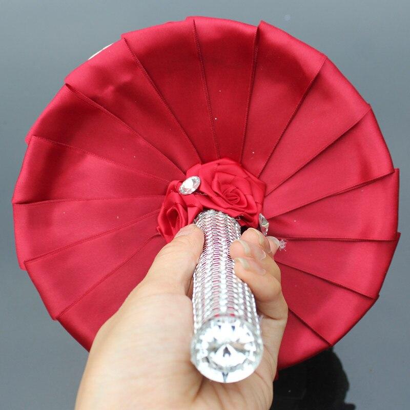 WifeLai-A 1PC Custom Stunning Röd Ivory Wedding Bouquet Crystal - Bröllopstillbehör - Foto 5