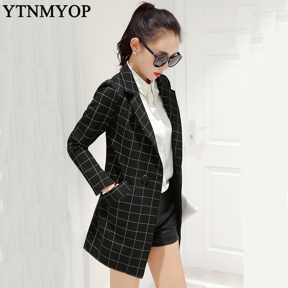 Spring Women's Long Plaid Blazers 2019 New Fashion Suit Jackets Outerwear Female Slim Plus Size S-XXL Clothing Outerwear