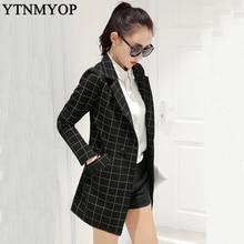 Весенние женские длинные клетчатые блейзеры модный костюм куртки верхняя одежда женский тонкий размера плюс S-XXL верхняя одежда