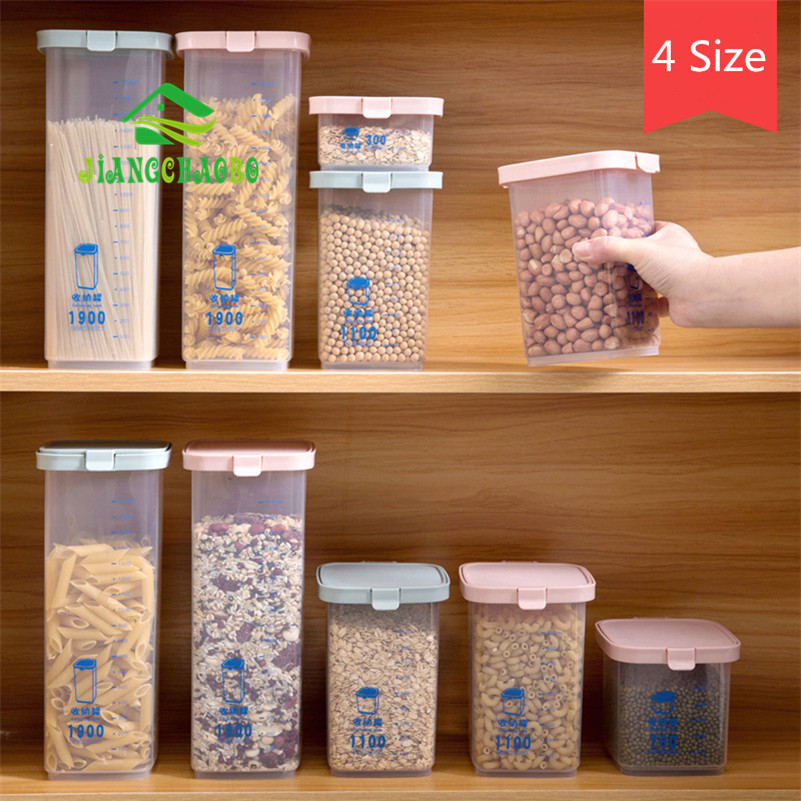 d48cdfa992bf JiangChaoBo Plastic Snap Sealed Cans Transparent Food Jar Kitchen Grain  Storage Box Dried Fruit Storage Tank
