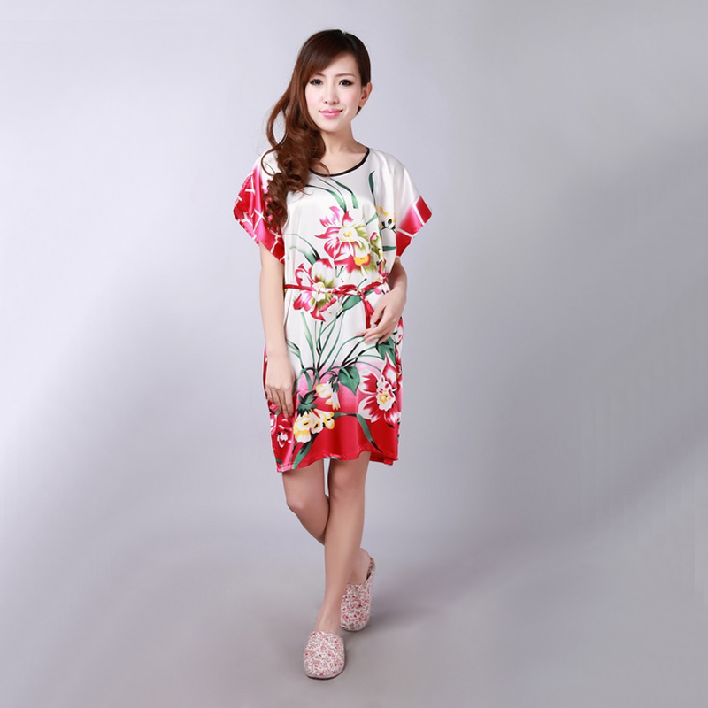 Plus Size Lady Summer Printed Floral Robe Dress Chinese Women Silk Rayon Nightgown Sleepwear Kimono Bath Gown 20 colors A146