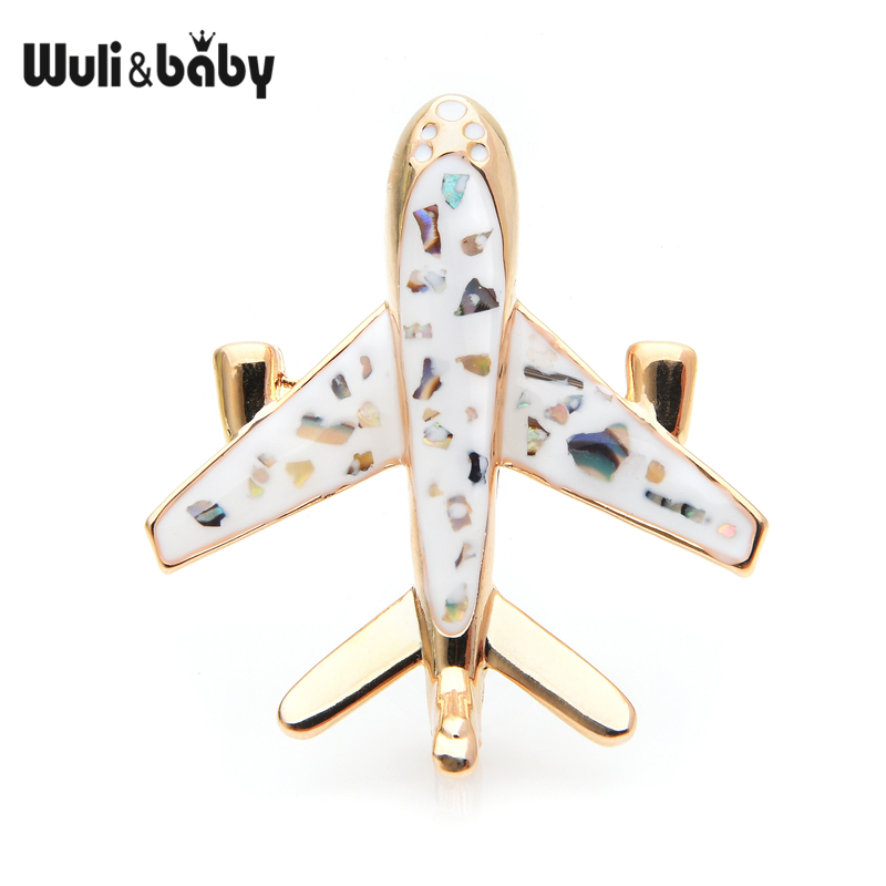 Wuli&baby Black White Airplane Shell-enamel Brooches Women Men Alloy Aircraft Weddings Brooch Pins Gifts