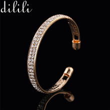 DILILI 2017 fashion Gold/ silver crystal cuff Bracelet femal luxury opened charm bracelets & bangles for women jewelry xsb424
