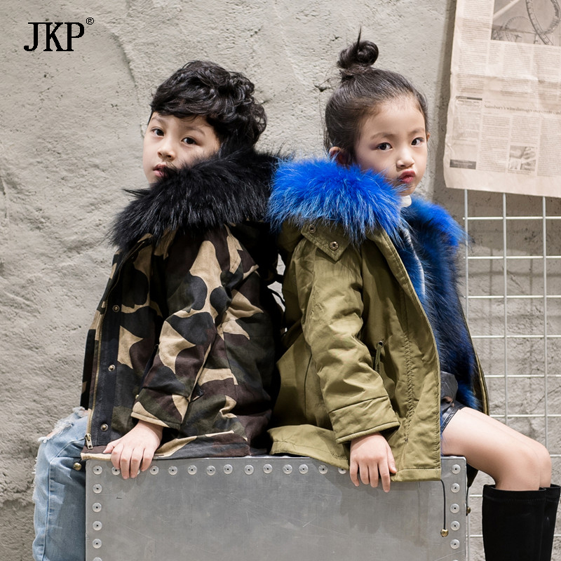 Children's Natural Rabbit Fur Coat Winter Warm Baby fur coat Kids Parka Real Raccoon Fur Collar Jacket for girl and Boy new winter girls boys hooded cotton jacket kids thick warm coat rex rabbit hair super large raccoon fur collar jacket 17n1120