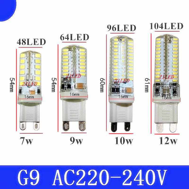 LED corn bulb <font><b>G9</b></font> 7W <font><b>9W</b></font> 10W 12W SMD2835 3014 AC220V LED lamp Low carbon light 360degrees Beam Angle Crystalline light bulb image