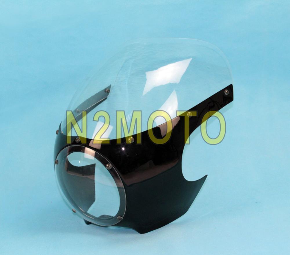 Headlight Fairing Cowl Mask Visor Cover Per Harley Dyna Sportster 883 1200 Black 5 3//4Cupolino faro Racer