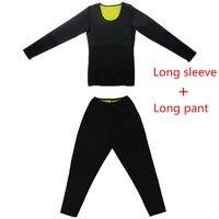 Неопрен для женщин Горячая форма r топ с длинными рукавами + длинные брючные костюмы для Пот Сауна, для похудения фитнес средства