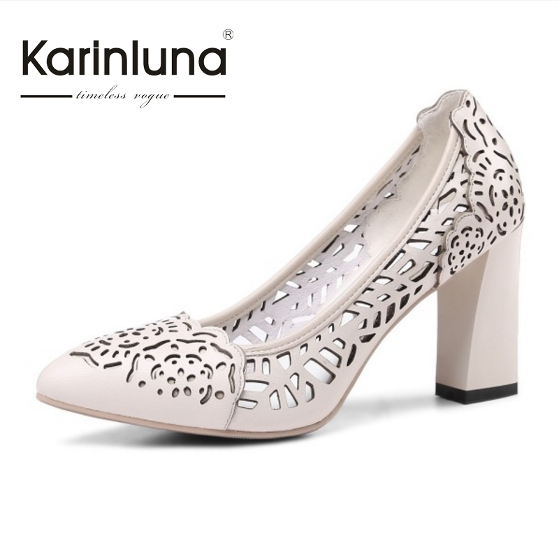 ФОТО KARINLUNA New Arrivals Nature Cow Leather Pointed Toe Pumps Sexy Cut Outs High Heels Party Wedding Woman Shoes Women