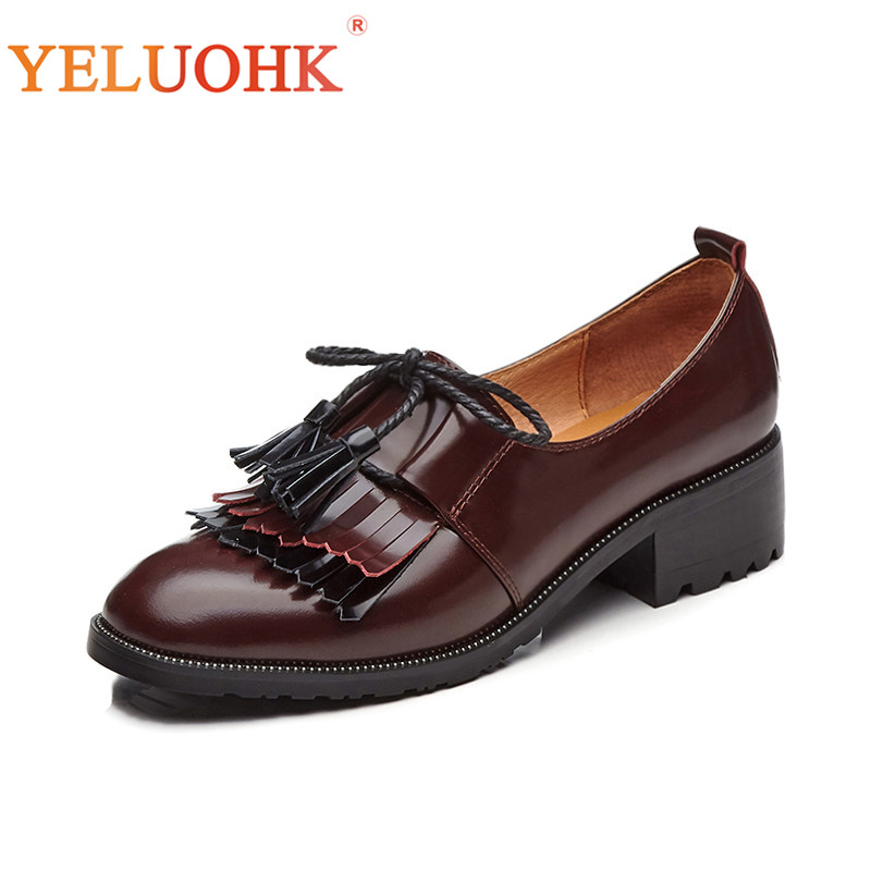 Top Quality Spring Shoes Women Heels Genuine Leather Shoes Heel Women Vintage Female Shoes Pumps