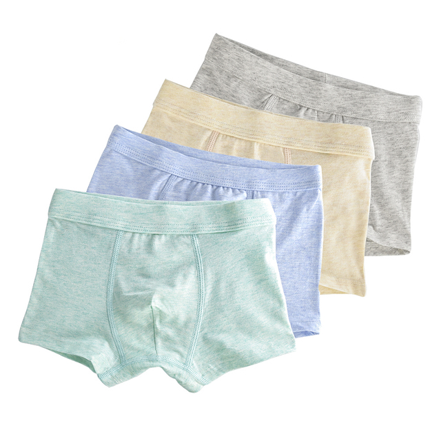 4-Pack Organic Cotton Kids Boxers for Boys Shorts Panties Children Underwear Boy Stripes Children's Teenager Underpant 2-16T 4