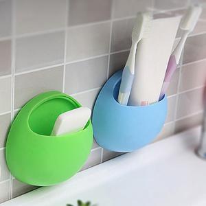 Image 2 - Zahnbürste Halter Stift Gläser Halter Wand Saugnäpfe Dusche Halter Nette Sucker Saug Haken Badezimmer Zubehör Set #0305