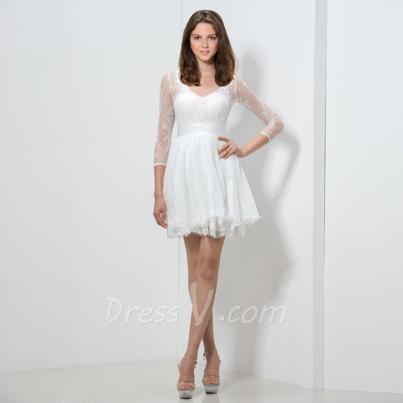 All White Short Cocktail Dresses with 3/4 Sleeves V neck Lace ...