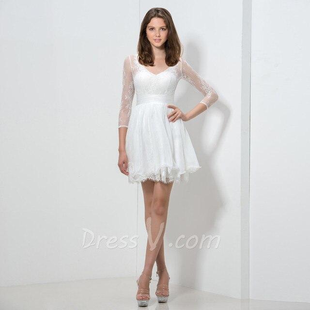 1db7002afa Todos los Blancos Vestidos de Coctel Cortos con 3 4 Mangas Con Cuello En V
