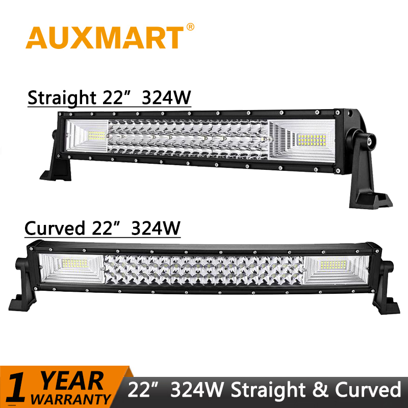 Auxmart 22 324W LED Light bar Curved Straight Offroad LED Work Light fog Lamp Combo Beam 3-Row LED 12V 24V Trucks SUV ATV 4X4 пороги rival bmw style hyundai ix35 2010 2013 2015 kia sportage 2010 2014 2015 круг 173 см крепеж 2 шт