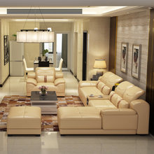 2014 new dubai furniture sectional luxury and modern corner leather living room arab l shaped sofa design and prices set(China)