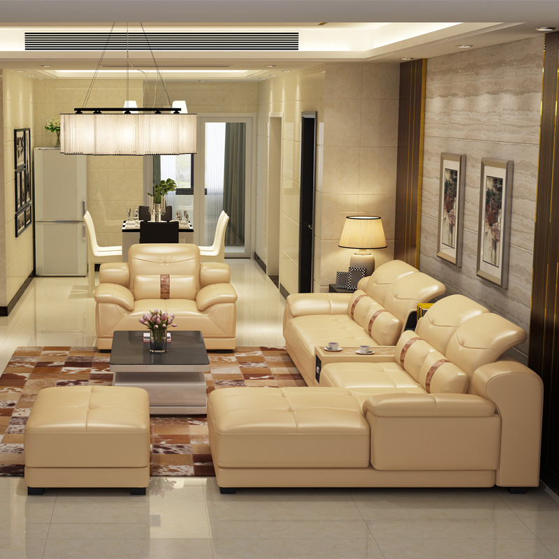 2014 new dubai furniture sectional luxury and modern corner leather living room arab l shaped Home center furniture in dubai