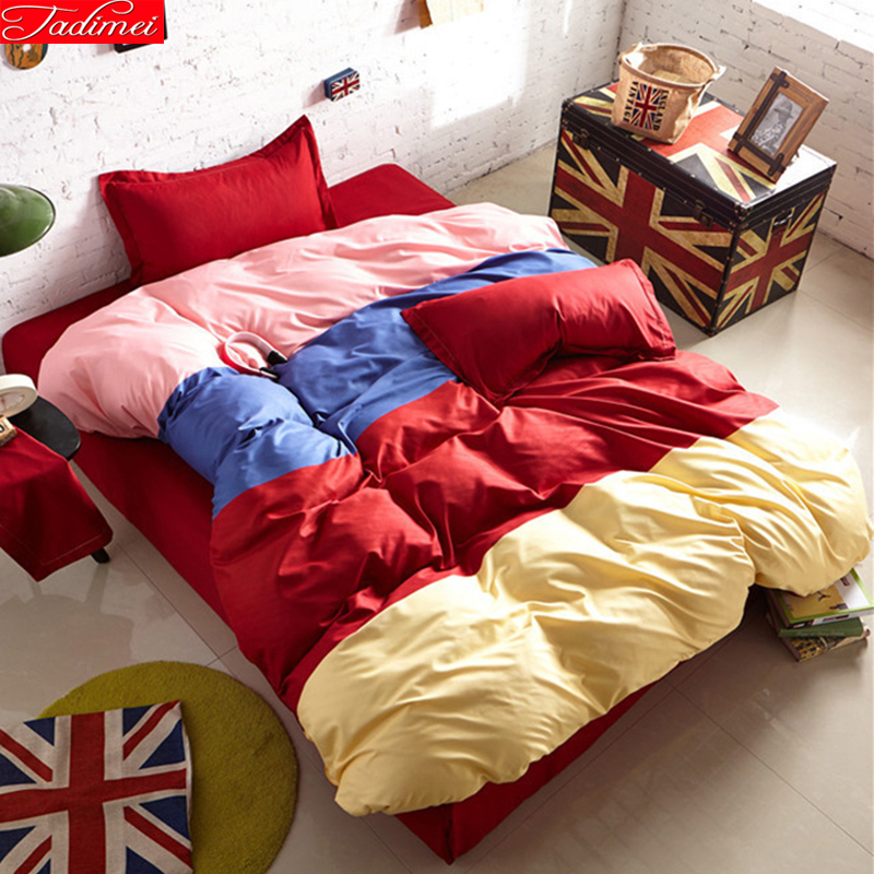 Mixed Color Matching 3/4 Pcs Bedding Sets Student Bedlinen 1.2m 1.5m 1.8m 2m Bed Sheet Queen Twin Double Single Size Duvet Cover Power Source