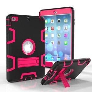 Image 2 - Moda pancerz Case dla iPad mini 1 2 3 Kid bezpieczne Heavy Duty silikonowa twarda okładka dla iPad mini 1 2 3 7.9 cal Tablet Case + Film + długopis