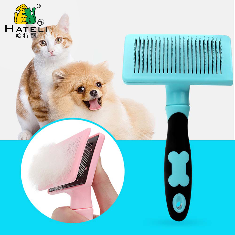 Hateli One-click Pet Deshedding Comb Automatical Clear Dog Combs Straight Curly Hair Cat Grooming Brush Short-long Hair Brushes