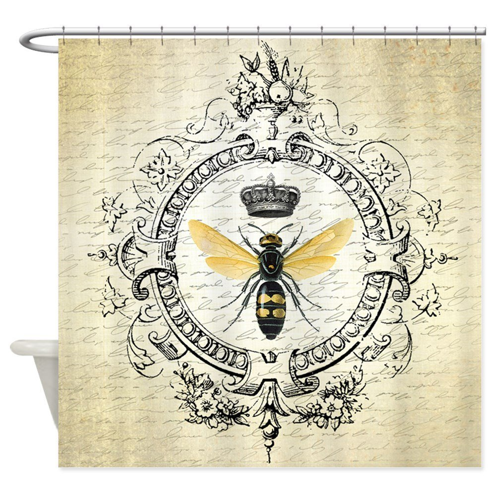 Vintage French Queen Bee Decorative Fabric Shower Curtain Bath Products Bathroom Decor with Hooks Waterproof