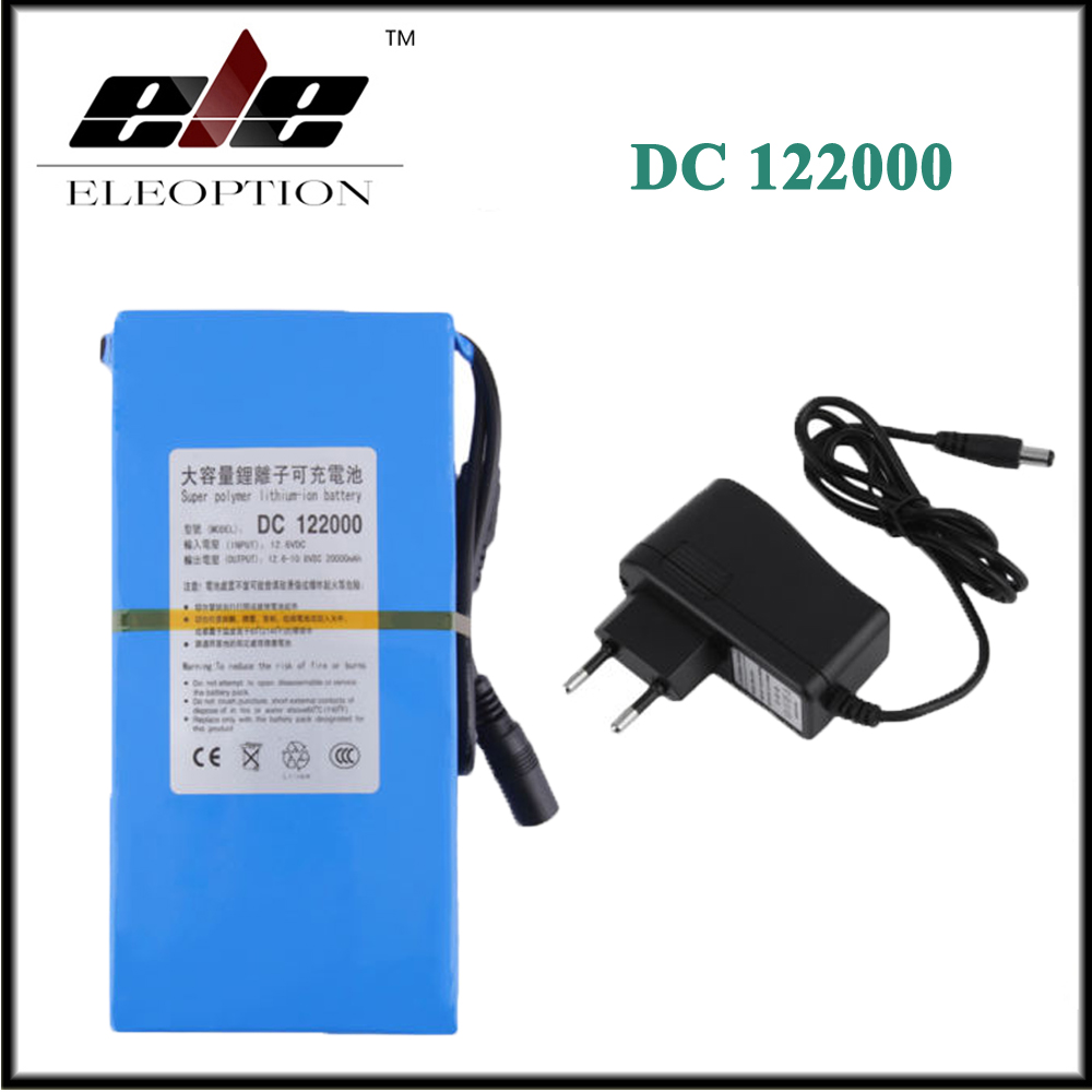 Eleoption DC 12V 20000mAh DC 122000 Rechargeable Portable Li-ion Battery for CCTV Camera With Plug 12v 1800mah rechargeable portable emergency power li ion battery for cctv devices