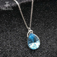 TBJ,Natural topaz pendant with chains,Big 11ct pear 12*16 concave cut blue topaz gemstone necklace in 925 sterling silver