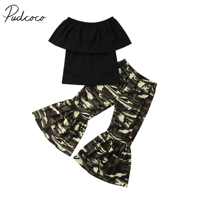 8b529ce9ad8b6 2018 Brand New Toddler Infant Kids Baby Girl Off-shoulder Tops+Camo Loose  Flared Pants Flare Bell Bottoms Clothes Sunsuit 9M-4T