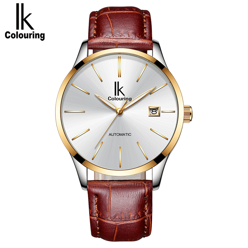 IK colouring Fashion Automatic Mechanical Men Watch Auto Date Black Brown Leather Self-Wind Man Wristwatch Montre Homme 4574 ik colouring new design retro hollow golden auto self windmechanical luxury watch men skeleton wristwatch original box for gift