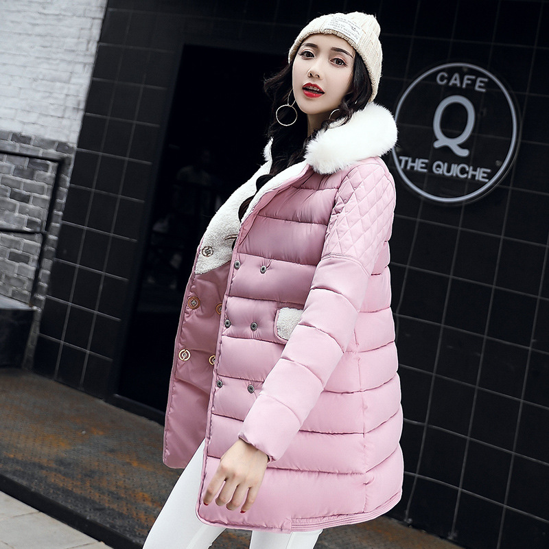 2017  New Winter Coat Women Outwear Fashion Double Breasted Jacket Cotton Padded Thick Warm Parkas Female Overcoat M-XXXL women winter coat leisure big yards hooded fur collar jacket thick warm cotton parkas new style female students overcoat ok238
