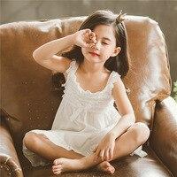 Children Clothing Summer Dresses Girls Pajamas Princess Nightgown Kids Home cotton material Girl Sleepwear white Slip dress