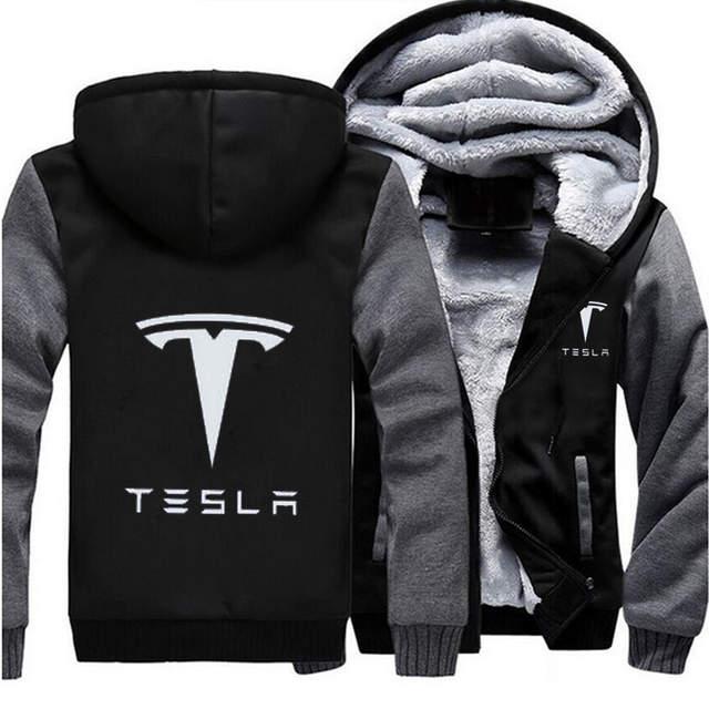 1fc7fa8afe3 Online Shop MIDUO 2018 Winter Coat Tesla Logo Men Zipper Hoodies Long Sleeve  Ringer Letter Printed Sweatshirt Mens Casual Hoodies Sportswear