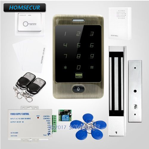 HOMSECUR DIY Access Control System with Electric NC Strike Lock + HOMSECUR Exit Button + Wired DoorbellHOMSECUR DIY Access Control System with Electric NC Strike Lock + HOMSECUR Exit Button + Wired Doorbell