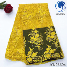 BEAUTIFICAL mesh lace fabric yellow beaded french 2018 latest high quality 5 yards/lot  for party JYN266