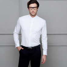 Contracted joker males shirt white mandarin collar wedding ceremony costume shirt slim match get together feast the interview tuxedos shirt
