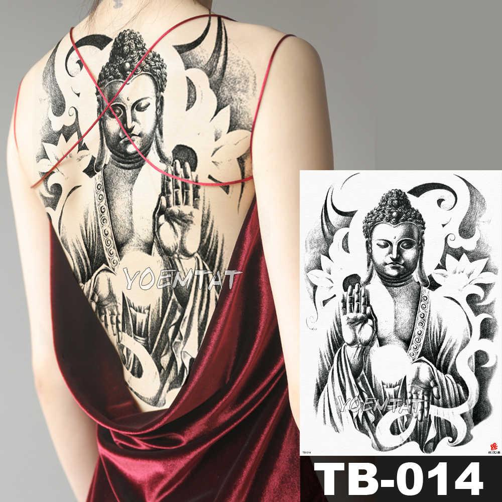 c7ce7ab82 1 Sheet Big Large Full Back Chest Tattoo Sticker Shakyamuni Buddha Mandala  monk Body Art Temporary