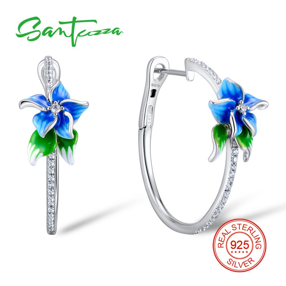 SANTUZZA Silver Earrings For Women 925 Sterling Silver Blue Flower Hoop Earrings Silver Cubic Zirconia brincos Jewelry Enamel silver vintage flower pattern plain round hoop earrings