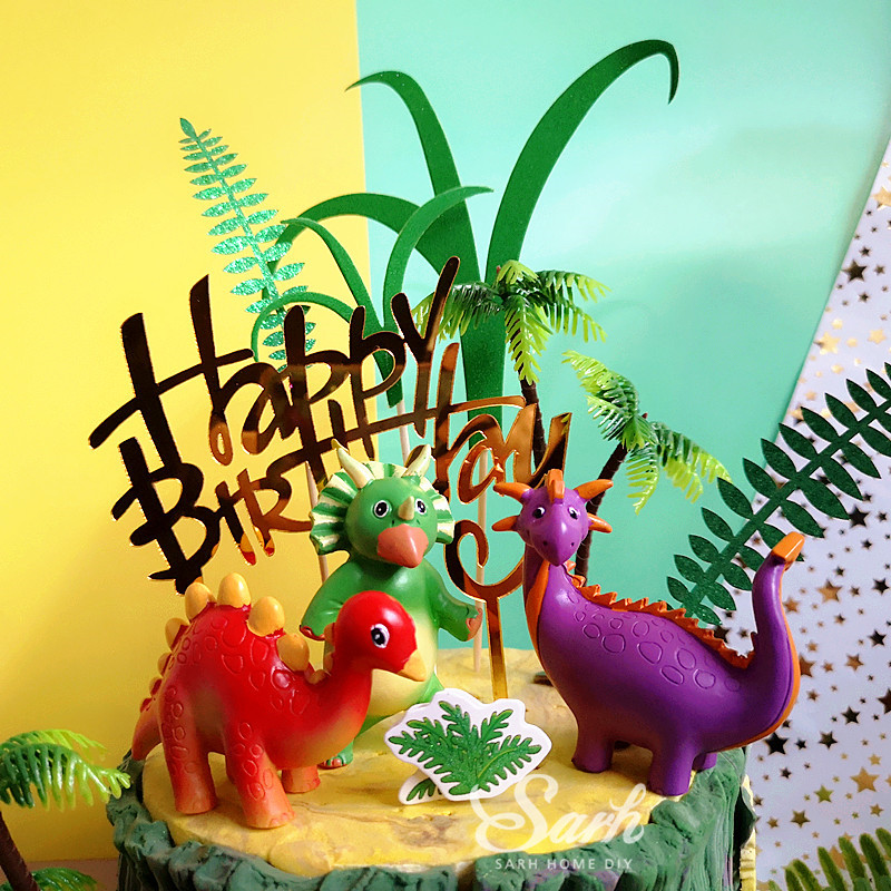Image 5 - Coco Tree Leaf Cartoon Dinosaur Cake Topper Dessert Decoration for Birthday Party Lovely Gifts-in Cake Decorating Supplies from Home & Garden