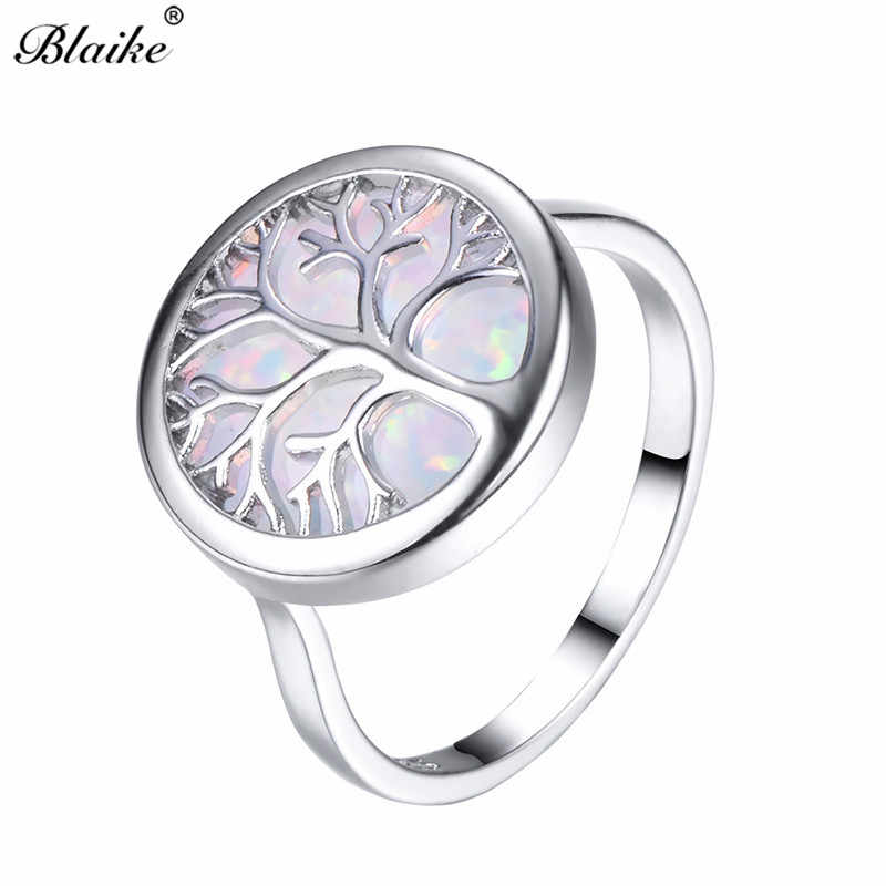 Blaike Vivid Life Tree White/Blue Fire Opal Rings For Women Men 925 Sterling Silver Ring Fine Jewelry Rainbow Birthstone Gifts